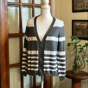 Women's Gray/White Striped Lightweight Cardigan